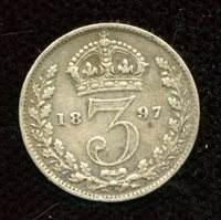 GREAT BRITAIN BRITISH GB UK KM848 1942 FINE-NCIE OLD ANTIQUE SILVER 3 PENCE COIN