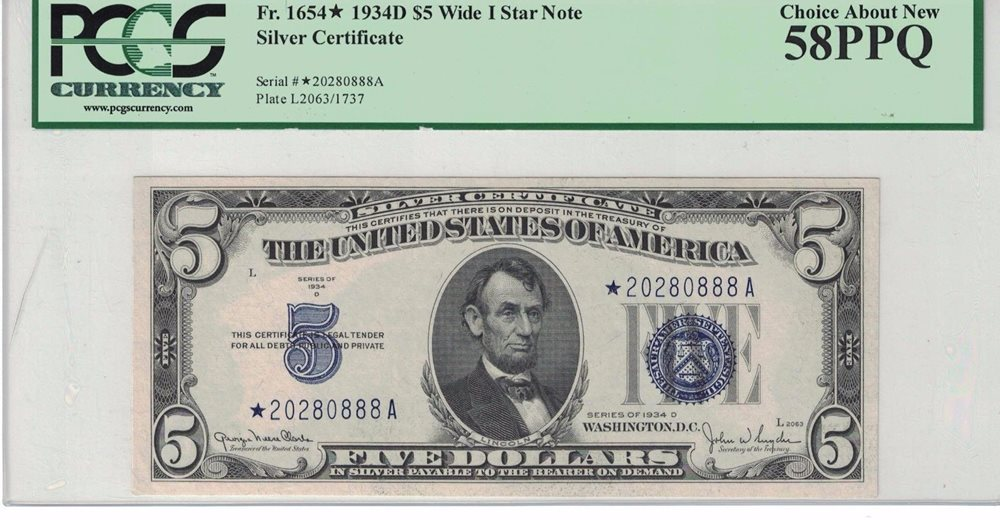 Fr1654 1934d 5 Silver Certificate Star Note