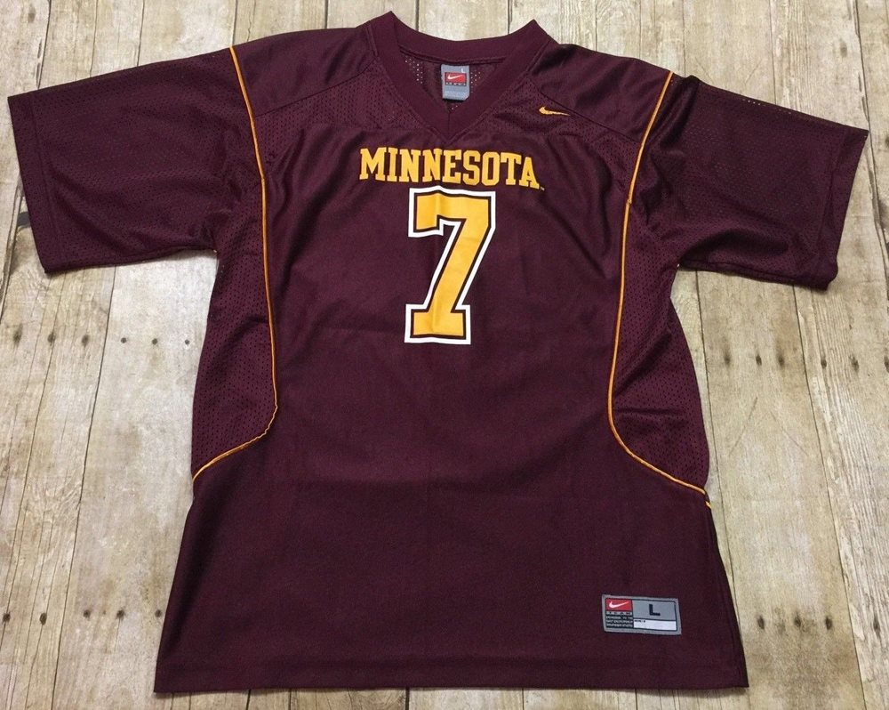 low priced 28076 5c6cd Nike NCAA Football Jersey Minnesota Golden Gophers #7 Youth Large Men Small