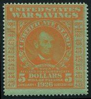 Scott WS6 1920 $5 orange, green mint, F-VF disturbed original gum
