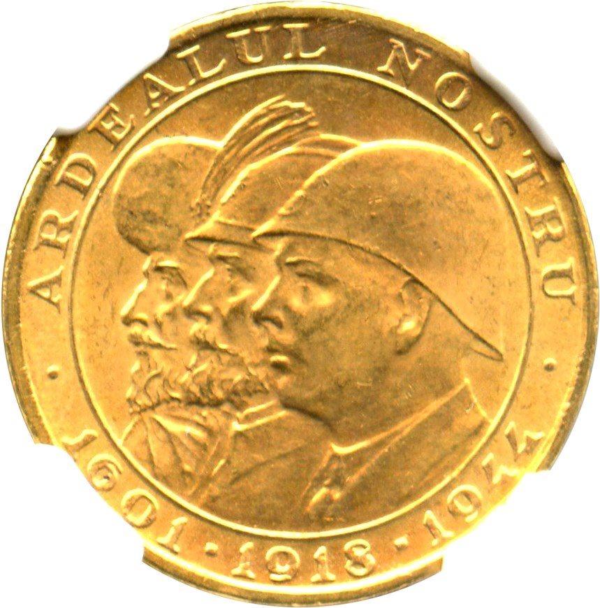Romania 1944 Romanian Kings 20 Lei Gold NGC MS63 SKU#3353