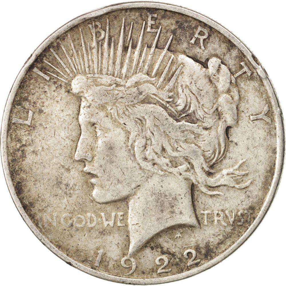 AU 1922 Peace Silver Dollar About Uncirculated Philadelphia Mint pk.rm