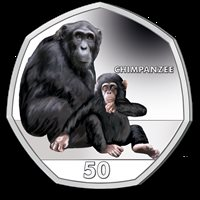 NEW ISSUE COLORED 50 PENCE UNC COIN 2018 YEAR MONKEY CHIMPANZEE GIBRALTAR