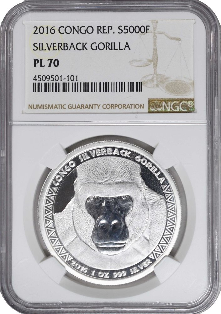 Coin NGC PL70 Brown Label 2015 Congo 1oz Silver Silverback Gorilla Proof Like
