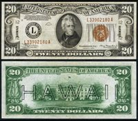 FR. 2304 $20 1934 Hawaii Note Mule Extra Fine+