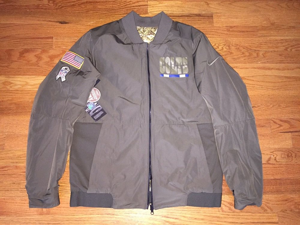 pretty nice a2e71 4e6be NFL Nike Mens Indianapolis Colts Salute to Service Reversible Bomber  Jacket(L)