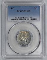 1967 JEFFERSON NICKEL PCGS CERTIFIED MS 65 MINT STATE (300)