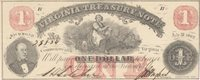 """Richmond Treasury Note 1862 $1 17 VT03-13 Unl Unl Prepared by Hoyer & Ludwig of Richmond, this is the more common variety, printed with the July 21, 1862 date, overprinted with lightly inked red protectors and """"ONE"""" at bottom center , and displaying full frame lines CU"""