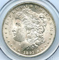 1891-CC $1 Morgan Dollar, PCGS MS-63, Brilliant Uncirculated. Wow! This is a wonderful looking all white beauty. This coin has a very light and attractive golden rim toning; Very attractive CC Dollar, and at a great price. Write for higher quality scan or layaway options. Zero problems guaranteed. Free Shipping.