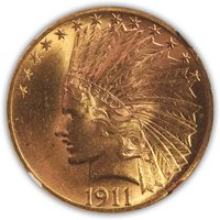 SOLD 1911 $10 Indian Eagle NGC MS 63