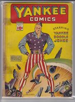 YANKEE COMICS 1 SEP 1941; Origins of Yankee Doodle Jones, Echo, Firebrand, Scarlet Sentry, and Enchanted Dagger. Charles Sultan cover. George Tuska art. Centerfold detached. Tape.