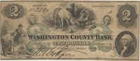 Carolina Mills Washington Co. Bank 1863 $2 Unl 192 430-G4d 190-G20d Tiny full margins are seen, the ends are smaller with good centering; large green 2----2 at center with the usual soil for the grade F