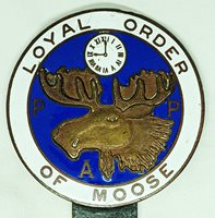 Beautiful 1930's Loyal Order of Moose Auto License Plate Topper in Heavily Enameled Bronze.