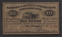 10 ct FARMERS & MANUFACTURERS BANK POUGHKEEPSIE, NY 1862 OBSOLETE XF/AU
