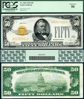 US Currency 1928 $50 Gold Certificate FR-2404 PCGS Graded About New 50 S/N A01317211A