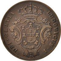 Azores, 10 Reis, 1865, Copper, KM:14