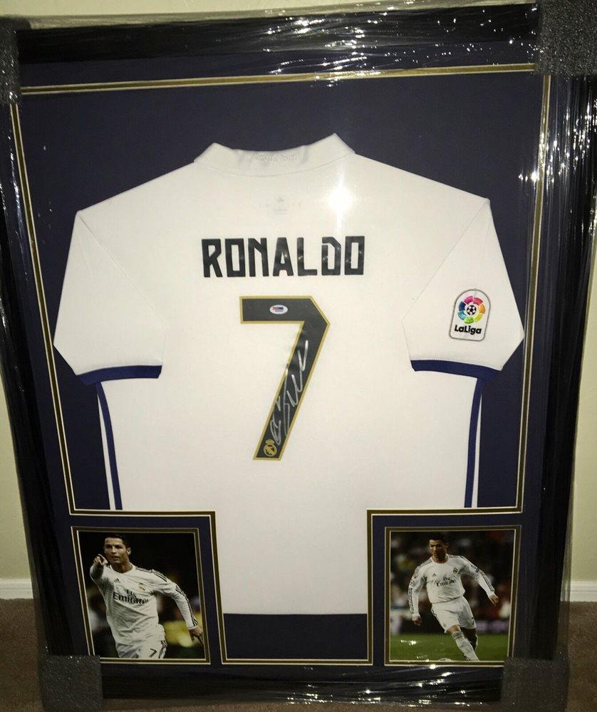 73e9ba2d6 Cristiano Ronaldo Custom Framed Signed Real Madrid Jers