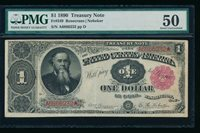 AC Fr 349 1890 $1 Treasury Note ORNATE BACK PMG 50 comment