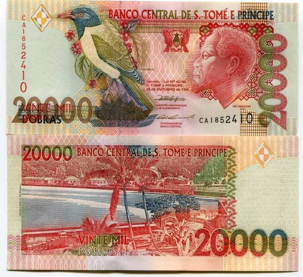 SAO TOME 20,000 Dobras Banknote World Paper Money Currency Pick p67b St Thomas
