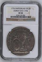 1776 Switzerland Zurich Thaler DAV 1794 NGC XF45 Silver Lion