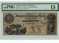 1850's $20 Farmer's Exchange Bank Charleston, SC Choice Fine 15 -Still Nice