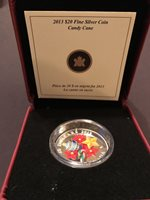 Canada 2013 Holiday Venetian Murano Glass Candy Cane $20 1 Oz Pure Silver Proof