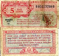 USA - Military 5 Cents Pick #: m8 1947 VG North and Central America