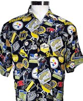7955b730ca4 NFL Pittsburgh Steelers All Over Print Button Up Shirt - Mens Medium Black