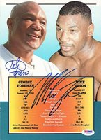 Mike Tyson & George ForemanSigned Magazine Page Photograph Vintage - PSA/DNA Authenticated - Boxing Merchandise