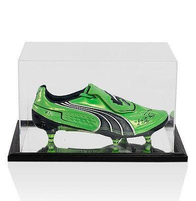 Sergio Aguero Signed Puma Green Football Boot In Acrylic Display Case Autographed Soccer Cleats