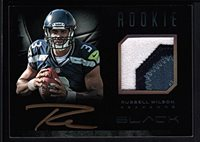 RUSSELL WILSON 2012 PANINI BLACK RC ROOKIE AUTOGRAPH 3 COLOR PATCH AUTO SP #/349