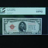 $5 1928 B Legal Tender Note, Fr # 1527 (DA Block), PCGS 64 PPQ Very Choice New