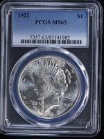1922 $1 Peace Dollar #140 PCGS MS63