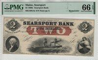 1860 $2 SEARSPORT BANK MAINE OBSOLETE NOTE REMAINDER PMG GEM UNC 66 EPQ (042)