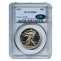 Certified Walking Liberty Half Dollar 1937 PR65 PCGS CAC Label