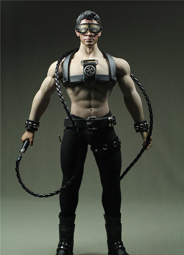 "Custom DIY For 12/"" Phicen Toy Male /& Female Figure 1//6 Scale Black Leather Whip"