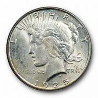 1925 Silver Peace Dollar MS64 PCGS Blue Label