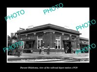 OLD 8x6 HISTORIC PHOTO OF DURANT OKLAHOMA THE RAILROAD DEPOT STATION c1920