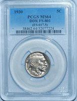 1930 PCGS MS64 FS-801 (FS-017.5) 5 Legs Leg Doubled Die Reverse Buffalo Nickel
