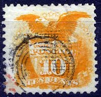 US Scott Number 116 10¢ 1869. Unusual TARGET cancel. Price $150 USD