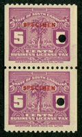 SRS SC BL73S 1929-35 5c purple coil pair, red SPECIMEN ovpt., security punch, VF