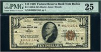 $10 1929 FRBN F1860K. Dallas. PMG Very Fine 25. Excellent example of this key to the $10 FRBNs.