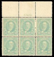 United States1910-301922 11c greenish blue, plate block of six, lightly hinged