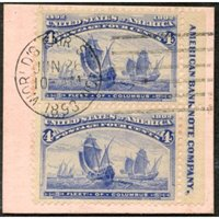 US 233 Early Commemoratives Imprint Pair VF Used