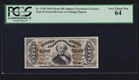 US 50c Fractional Currency Note 3rd Issue Type II FR 1339 PCGS 64 V Ch CU