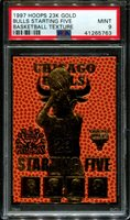 1997 HOOPS 23K GOLD BASKETBALL TEXTURE MICHAEL JORDAN POP 6 PSA 9 K2606619-763