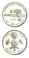 Maldives International Games Swimming 25 Rufiyaa 1984 Proof Crown