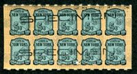 SRS NY C6Sa 1941 5c black pale blue black SPECIMEN h/s, pane of 10, VF staple holes
