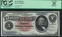Fr.-262 1886 $5 Silver Dollar back Certificate Ser. B24193208 PCGS-30