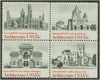 1838-41 15c Architecture Attached block of 4 Used[1838-41attu]